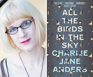 Charlie Jane Anders with book cover of All the Birds in the Sky